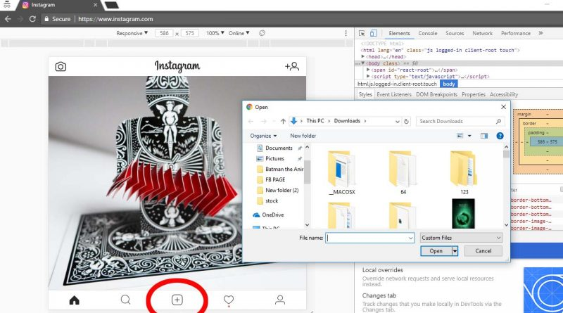 how to upload photos on instagram from pc without any software