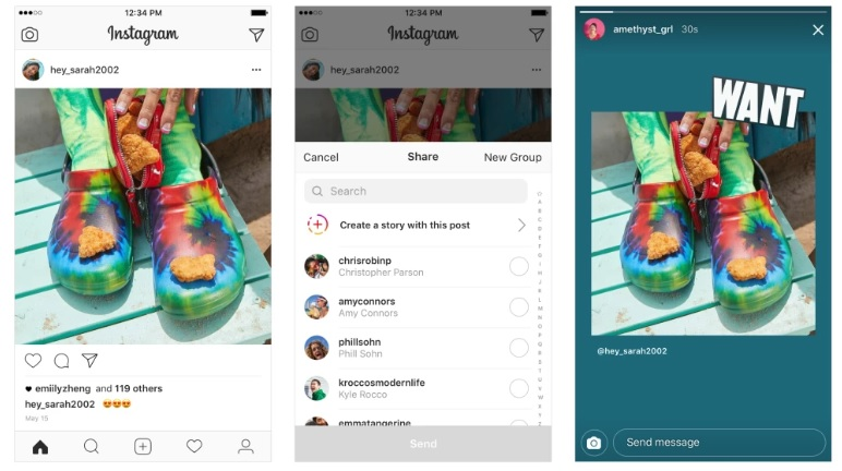 how to share instagram posts to stories