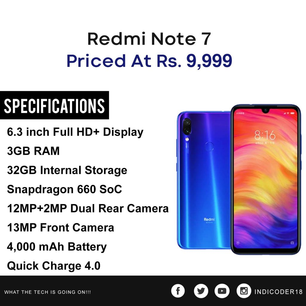 redmi note 7 price in india specifications