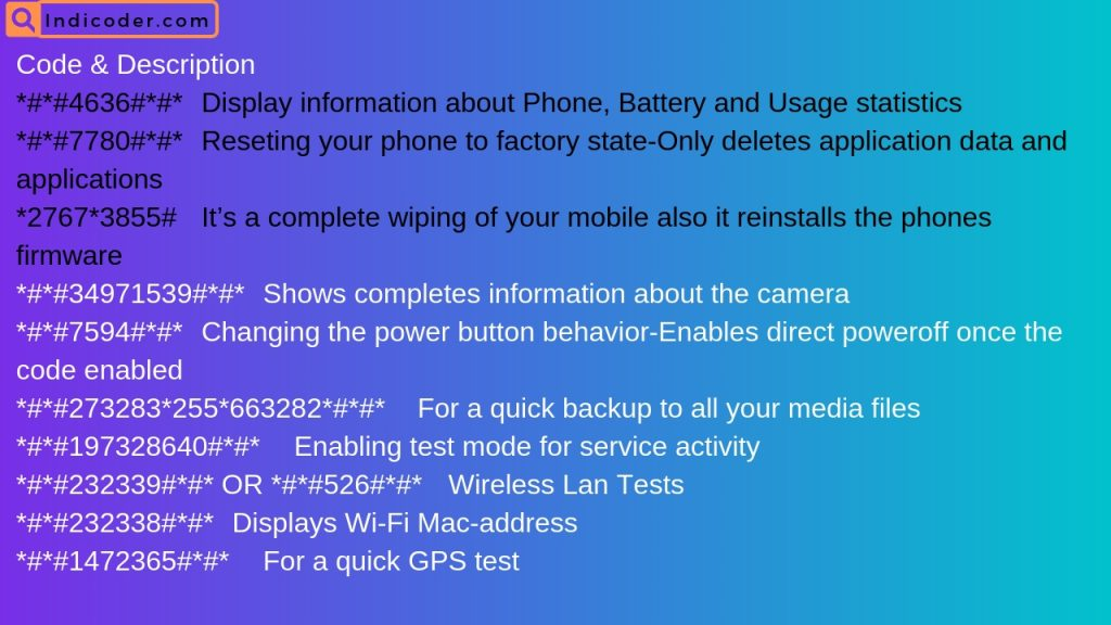 Android smartphone secret codes in this image
